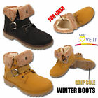 GIRLS WARM FUR LINED COMBAT BOOTS INFANTS TRAINERS KIDS ANKLE WINTER SNOW SHOE