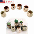 US Mini Small Ceramic Owl Succulent Plant Pot Flowers Planter Holder Cactus Cute