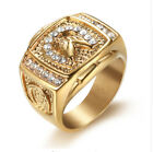 Elvis Presley Horseshoes TCB NY LAB Austrian Crystal Gold Plated Men Square Ring