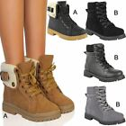 Womens Ladies Flat Army Combat Fur Lining Ankle Boots Lace Up Casual Work Size