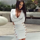 US Fashion Women Long Sleeve Bodycon Casual Party Evening Cocktail Mini Dress