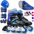 Inline Roller Skates Free Helmet&Knee Pads Set Breathable Adjustable for Kids US