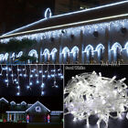 White 96-1000 LED Christmas Bluff Fairy Indoor/Outdoor Icicle Curtain Light US