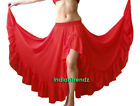 Red Chiffon Slit Ruffle Flamenco Skirt Belly Dance Gypsy Ruffle Jupe