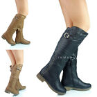 NEW WOMENS LADIES KNEE HIGH ROUND BUCKLE DESIGN LONG WINTER BOOTS SIZE 4 5 6 7 8
