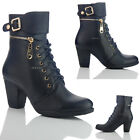 NEW WOMENS LADIES MID HEEL SIDE ZIP LACE UP BUCKLE DESIGNER ANKLE BOOTS 7