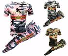 Girls Camouflage ROYALTY Set Suit Stretch Leggings Clothes Outfit Age 7-13 Year