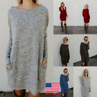 Womens Long Sleeve Winter Warm Casual Dress Party Cocktail Loose Holiday Blouse