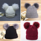 Winter Baby Knit Hat With Two Fur Pompoms Boy Girls Wool Fur Ball Beanie Kids