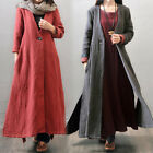 ZANZEA Women Oversize V Neck Loose Jacket Coat Outerwear Long Kaftan Maxi Dress