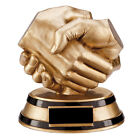 Fair Play Handshake Achievement Award Heavy Resin Trophy, Any Text Engraved