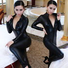 Sexy Catwomen Faux Leather Latex Zentai Catsuit Wetlook Jumpsuit Front Zipper