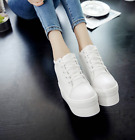 Womens Lace up Round toe Hidden Wedge Heel Casual Athlatic Sneakers Shoes A2187