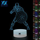 Marvel Superhero US Captain 3D Acrylic LED Night Light USB Touch Lamp Kids Gifts