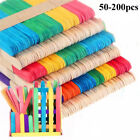 200Pcs Jumbo Art Wooden Paddle Pop Craft Sticks 100% Natural Wood Craft    U9