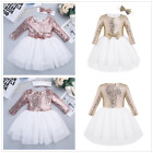 Sequins Kids Baby Flower Girl Party Princess Tutu Top Dress Toddler Pageant Gown
