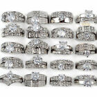 Lot 10/30x Wedding Ring Women  Wholesale Bulk Silver Stainless Steel Crystal