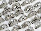 wholesale wedding rings - Lot 10/30x Wedding Ring Women  Wholesale Bulk Silver Stainless Steel Crystal