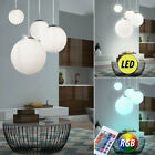 LED glass pendant lamp living room RGB remote control ball ceiling lamp dimmable