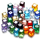 Cube Loose Beads in Jewelry Making 6mm 4mm Crystal Beads Faceted Square Shape