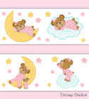 Внешний вид - Pink Teddy Bear Wallpaper Border Wall Art Decals Cloud Star Moon Nursery Sticker