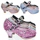 Dana^ Children Girls Mary-Jane Low Block heel Dress Pump w Sparkling Glitter