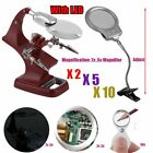 LOT Helping Hand Soldering Stand W/ LED Light Magnifier Glass Clip 2X 5X 30X HM1