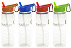 Summit 700ml Clear Drinking Water Bottle Folding Straw Coloured Carabiner 696012
