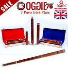 "IRISH D FLUTE 3PART ROSEWOOD 26"" PROFESSIONAL OGGIE76 UK WITH WOODEN HARD CASE"