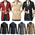 Men Double Breasted Trench Coat Winter Autumn Jacket Smart Peacoat Outwear M-3XL
