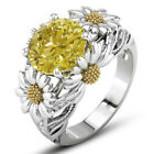 Citrine Daisy Flower Ring Round Cut Ring Wedding Engagement Gift Ring Jewelry^