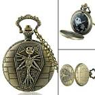 Steampunk Full Hunter Quartz Engraved Fob Retro Pendant Pocket Watch Chain Gift