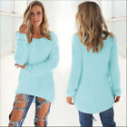 Womens Long Sleeve Crew Neck Sweater Fashion Solid Party Evening Cocktail Blouse