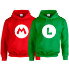 MARIO Red LUIGI Green Hoodie Hoody Super Brothers Gaming Retro Adults Kids NEW