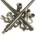A2 Stainless Threaded Bar Rod - Choose Stud Connectors, Nuts, Nylocs, Washers