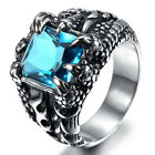 Vintage Mens Dragon Claw Sapphire CZ Stainless Steel Biker Band Ring Size 7-13