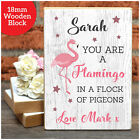 FLAMINGO Personalised VALENTINES DAY Gifts Her Wife Girldfriend Wooden Blocks