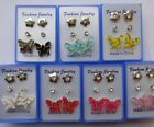3 Sets Butterfly Stud Earrings Colourful Crystal Black Red Lilac Pink Blue