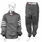 RJS RACING 2 PIECE FIRE SUIT SFI 3-2A/1 JACKET & PANTS GRAY ADULT SIZES.