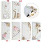 Handmad Bling Diamond Jewelled PU Leather Flip Wallet Cover Case & 2 straps #H15