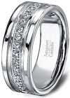 Mens Wedding Band 8mm Classic Tungsten Carbide Ring Stacked Cubic Zircon Polishe