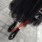 Womens Ankle Boots Lace Up Patent Leather Block Med Heel Metal Decor Comfy Shoes