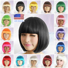 US Women Fashion Cosplay Short Straight Hair Wig Costume BOB Style Hair Full Wig