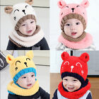 US! Cute Baby Toddler Hat  Warm Bear Hat Hooded Scarf Knitted Kids Beanie Cap