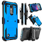 For LG Aristo 2/Tribute Dynasty Case Hybrid Rubber Clip Holster Hard Phone Cover
