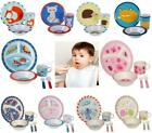 3 / 5PC BABY DINNER SET CHILDREN FEED DINING BPA PLASTIC PLATE BOWL CUP CUTLERY