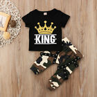 US Seller Toddler Kids Baby Boy Tops TShirt Camo Pants 2PCS Outfits Set Clothing