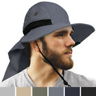 Outdoor Sun Hat with Neck Flap Wide Brim Fishing Hiking Hat for Men 50+UPF Shade