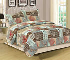King or Queen Quilt Set 3 Piece Bedspread Coverlet Blue Nautical Anchor Coral image