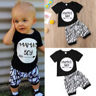 Newborn Infant Baby MAMAS Boy Toddler T-shirt Tops+Short Pant Outfit Clothes ZOE